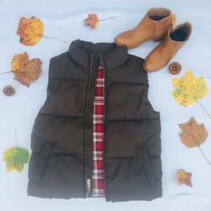 Ruff Hewn Chocolate Puffer Vest plaid Size Medium